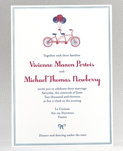 French Bicycle Wedding Invitation