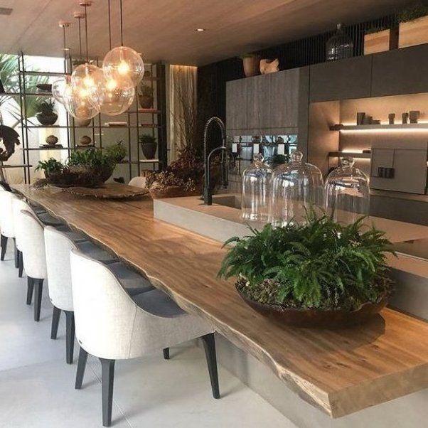 Live Edge Bar Height Counter Attached To Kitchen Island Modern Kitchen Love Islandkitchendecor Pineapp Kitchen Decor Modern Kitchen Layout Kitchen Interior