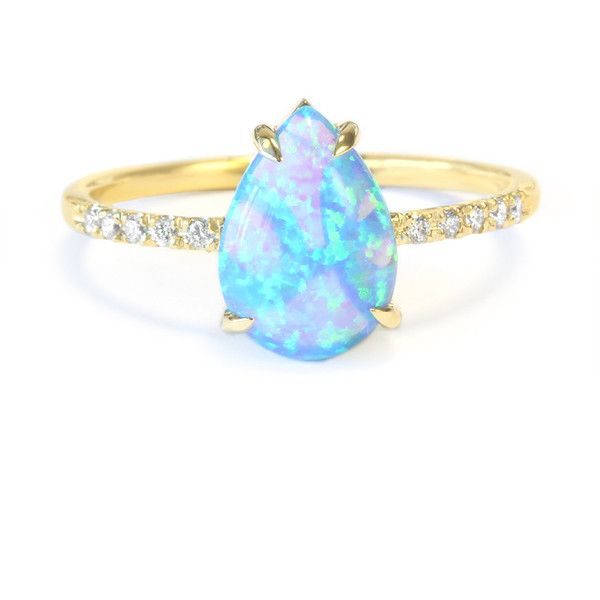 Pear Shaped Opal Diamond Engagement Ring, 14K Rose, Halo Ring, Unique... ($450)…
