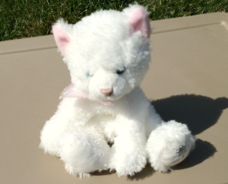 Russ Shining Star White Cat Soft And Cuddly Ty Beanie
