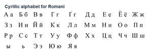 Romani (romani ćhib), or Romany, is an Indo-Aryan language spoken by about 5-6 million Roma people throughtout Europe and the USA. The largest concetration of Roma people live in Romania. In English these people are often called Gypsies. Romani texts produced in the USSR in the 1920s and 1930s were written in the Cyrillic alphabet. This alphabet is still used by Romani in Russia, Bulgaria and Serbia. (...)