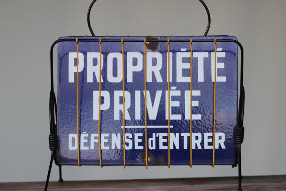 French Vintage Blue Enamel Signpost Private by SooooFrenchy, €85.00