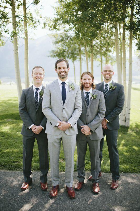 mismatched #grey suits, groomsmen, mountain wedding, Colorado, #dapper…