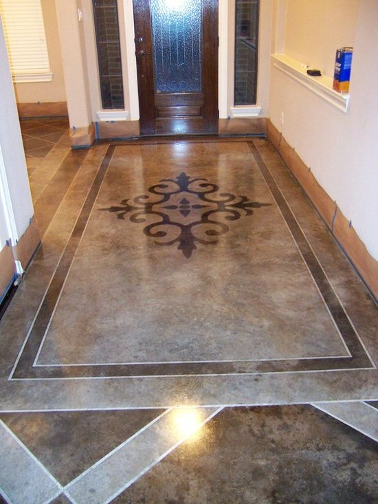 Acid Stained Concrete Floors. Dark sections are full strength acid stain. Light sections are diluted 1:1 with water. White sections were protected by tape.