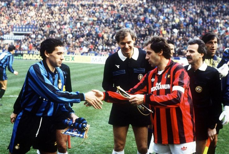The Baresi brothers, Guiseppe and Franco captaining their sides Inter and Milan in the Derby della Madonnina