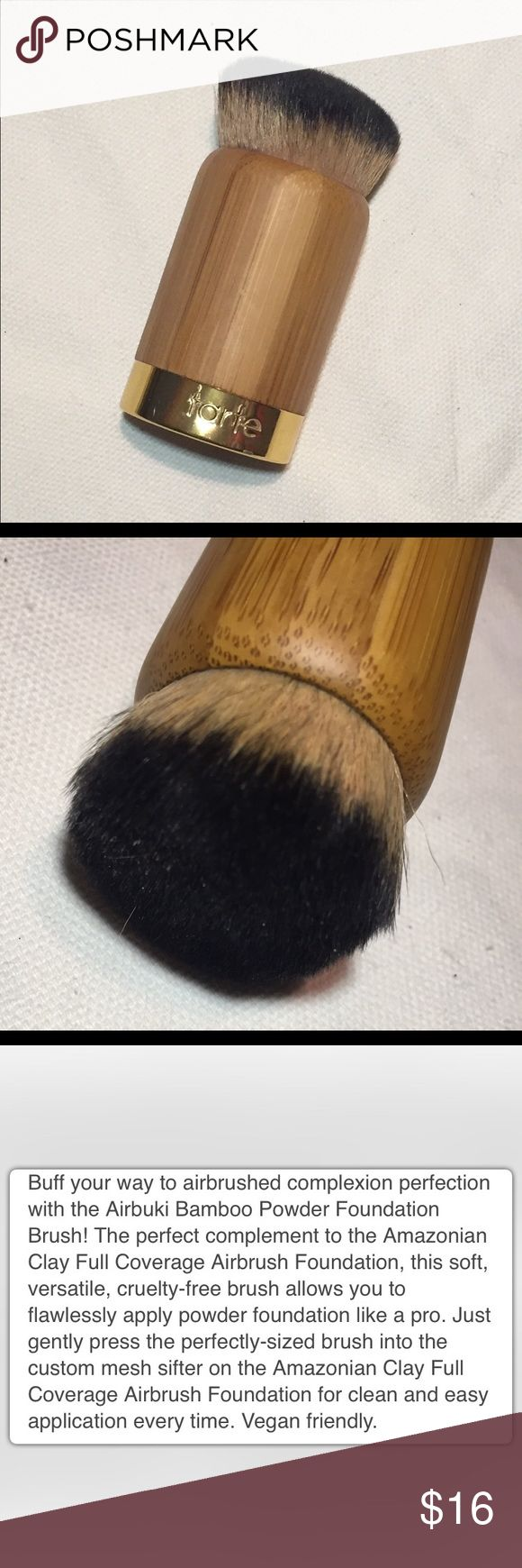 tarte Airbuki Bamboo Powder Foundation Brush Has not been used. Awesome foundation brush for helping create an airbrushed finish look. Retails for $28. Bundle with additional items for a 20% discount. tarte Makeup Brushes & Tools