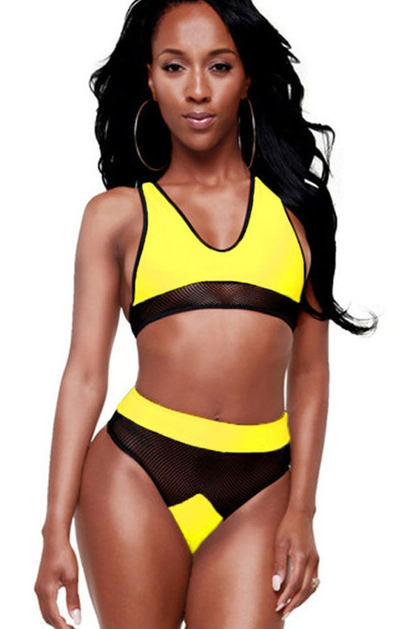 Yellow racer back cutout netted sexy bikini swimsuit yellow