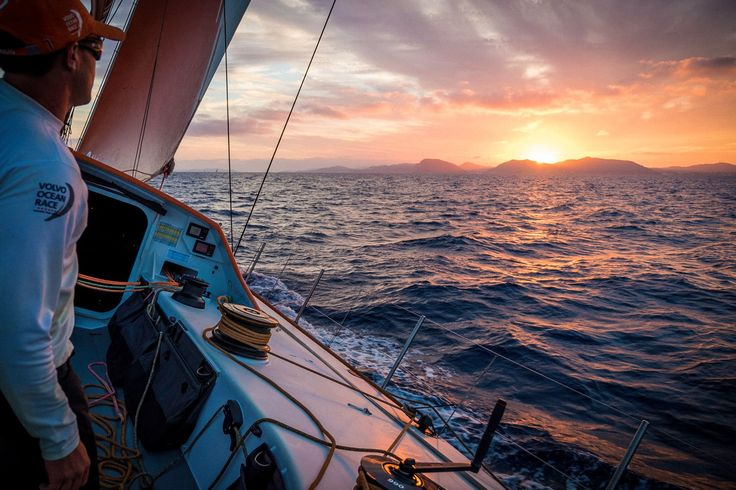 Sunset on board of Alvimedica