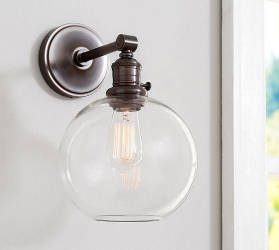 Pb Classic Sconce Glass Globe Pottery Barn Bathroom