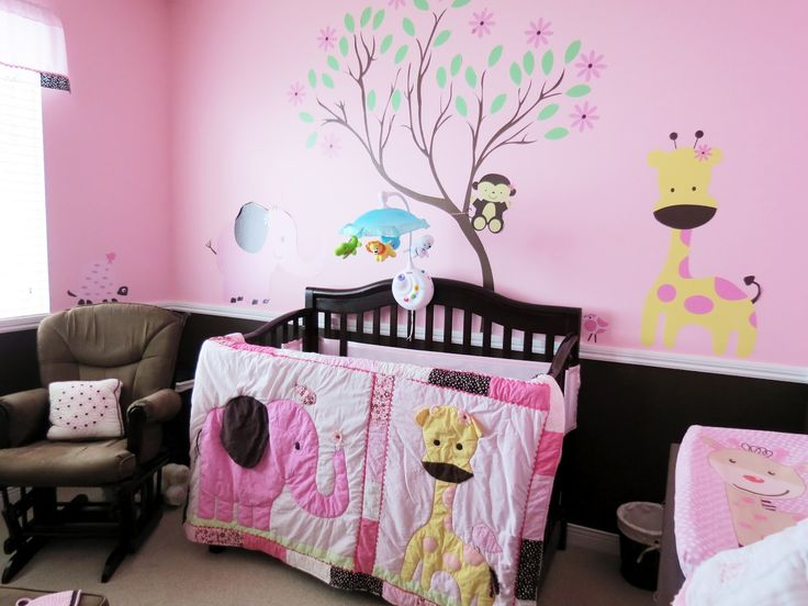 Amazing Exciting Animal Themed Baby Boy Room Ideas: Pink Room For Baby With Tree  And Animal Wall Decals Crib With Comforter That Has Yellow Giraffe And Pink  ... Part 24