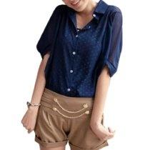 Allegra K Ladies Half Sleeve Single Breasted Semi Sheer Chiffon Blouse Dark Blue S