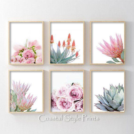 Blush pink succulen dusky pink botanical poster Minimalist leaf wall art print