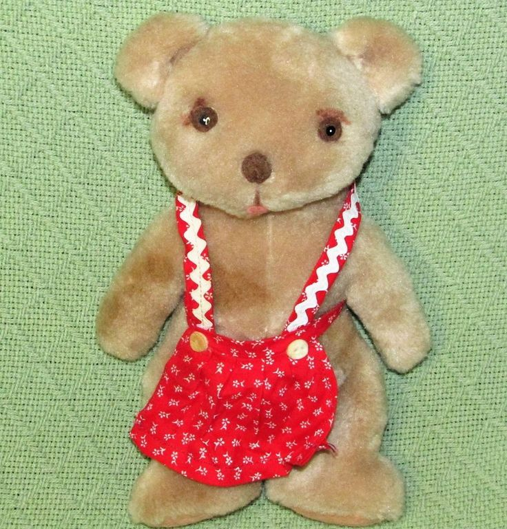 """Vintage CLARE CREATIONS Teddy Bear Plush with Red APRON 10"""" Stuffed Animal RARE #ClareCreations"""
