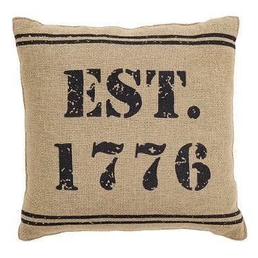 """Independence 1776 Burlap Pillow 12x12"""" Bring a touch of patriotic style to your decor with this Independence 1776 Burlap Pillow. This throw pillow measures 12x12"""" and comes filled. It is made from 100"""
