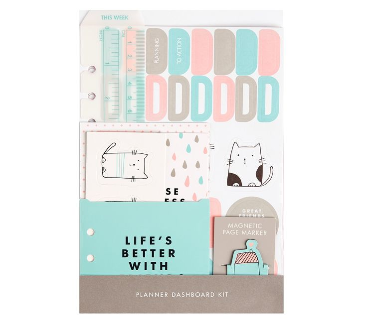 Planner fans, this kit is your must-have accessory for the Vänskap large planner! Featuring stickers, pockets, dashboard, cut outs, ruler and more, it features everything you could need to get organised and embrace the fun of planner decoration.