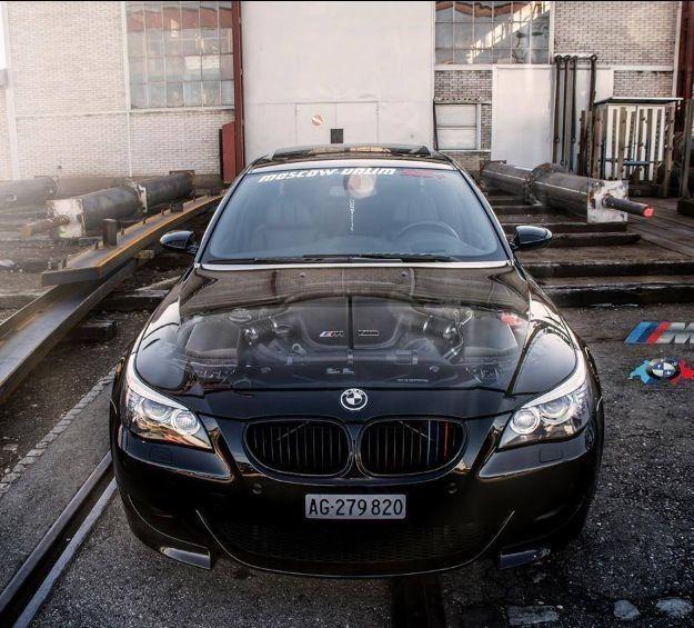 E60 BMW M5 with crazy engine decal, MPower IloveBMW