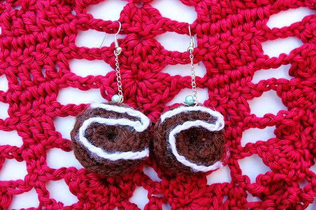 Kawaii Earrings – Chocolate donut earrings - crochet – a unique product by…