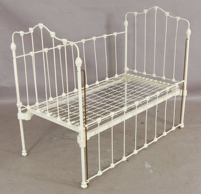 victorian baby cradle | 373: Victorian style cast iron drop side Baby Crib. : Lot 373