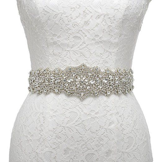 Remedios Exquisite Sash Rhinestone Wedding Bridal Belt for Party Evening Dress,ivory