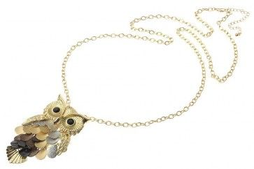 Gold Metal Chain Mixed Metal Colour Owl Pendant   Don't Forget your discount code FB10 to get 10% off your 1st order