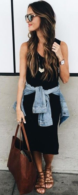 Midi Black Dress + Denim Jacket                                                                             Source