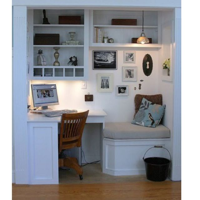 Desk in closet- even a reading bench! Their closets do have deep corners. . .