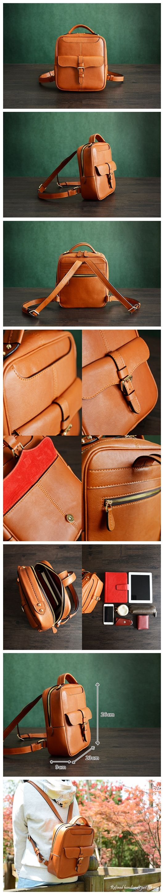 Custom Handmade Vegetable Tanned Brown Leather Backpack, Shoulder Bag, Satchel…