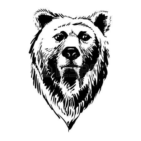Ilustración vectorial de marcador animales del bosque a mano oso