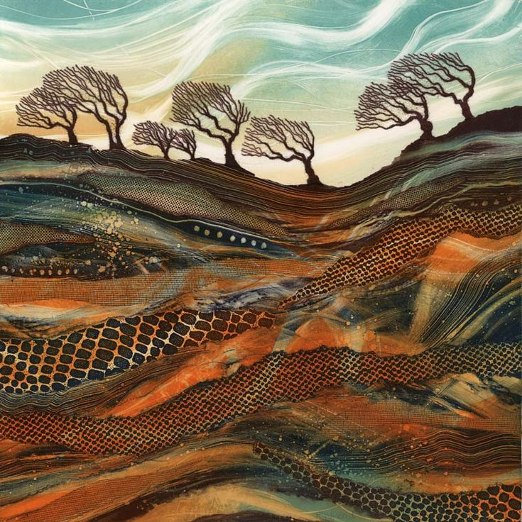 Waving in the Wind giclee print mounted. Windswept Trees by artist Rebecca Vincent Northumberland