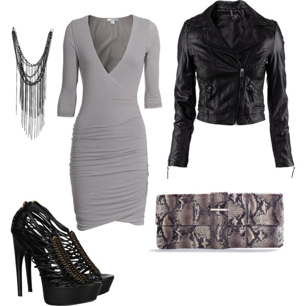 Feminine Edge--grey fitted stretch dress, black moto jacket, multi-strap McQueen sandals.