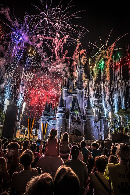 Fireworks shooting over Cinderella's Castle at Disney's Magic Kingdom
