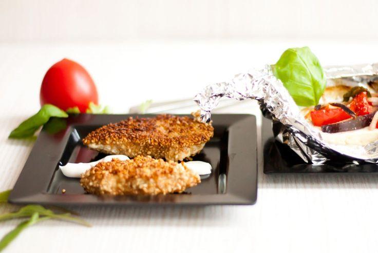 LowCarb Sesam-Hähnchen mit Fetaschiffchen