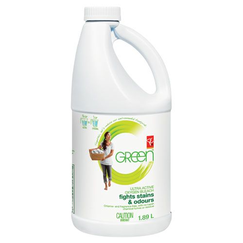 PC GREEN Ultra Active Oxygen Bleach. Chlorine-free: bleaches using hydrogen peroxide, reducing the amount of harmful chlorinated compounds reaching our rivers and lakes. No harsh chemical fumes or residue. Fragrance- and dye-free.