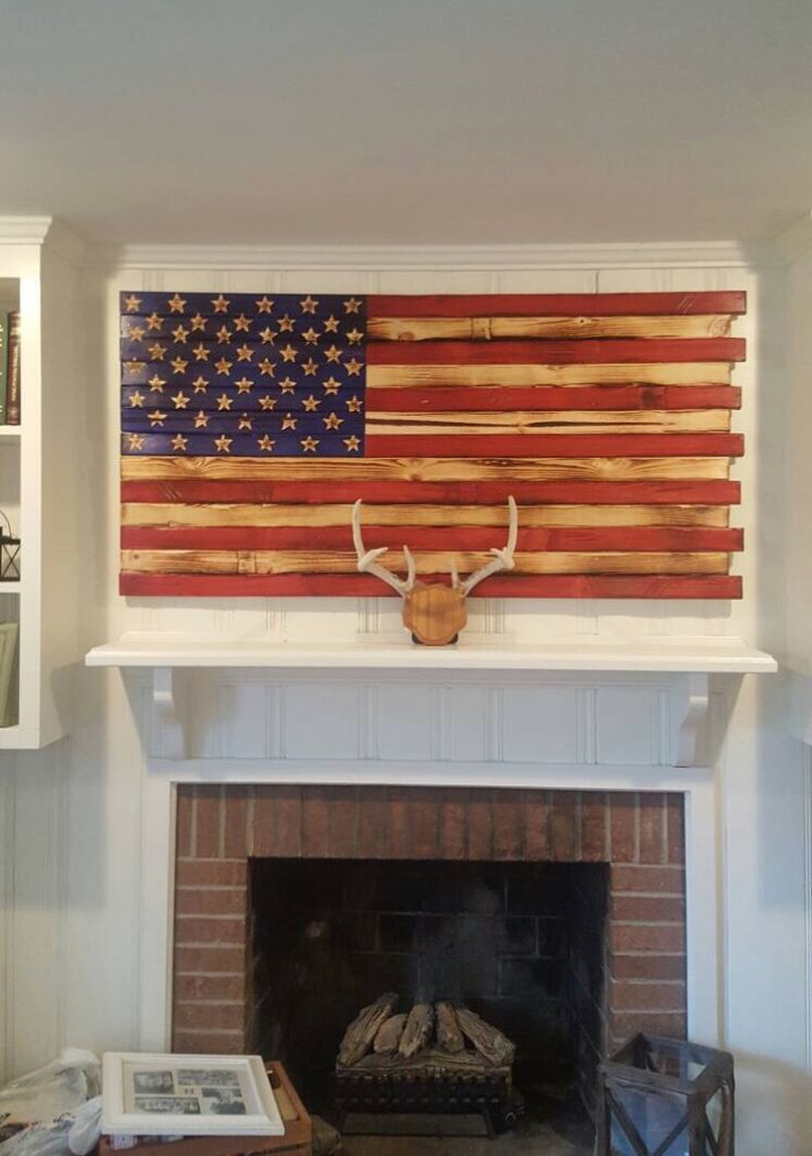 Hand Carved Wooden American Flag Great look