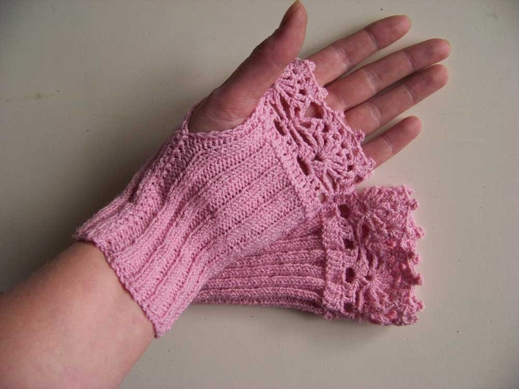 Pink wool/cotton knitted gloves with lace crochet trim C286. $25.00, via Etsy.