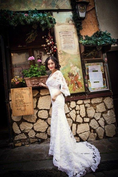 Mermaid V Neck Sweep Train Lace 1/2 Sleeves Wedding Dress