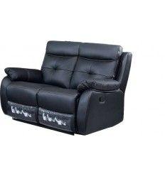 Canapé relax 2 places (145 x 99 x 90) coloris noir