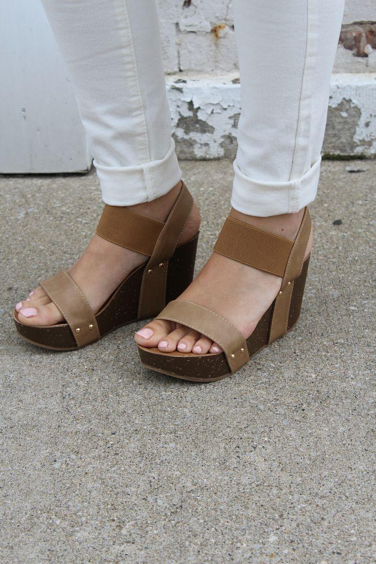 Taupe Platform Wedge Sandal