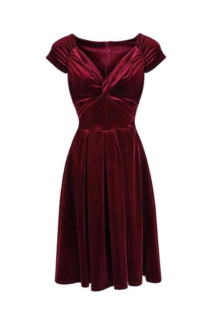 Claret Red Velour Crossover Midi Dress