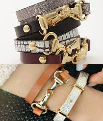 Two Ring Buckle Leather Bracelet