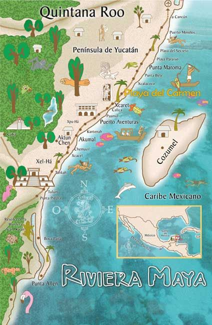 Playa del Carmen & Cozumel, Mexico - map