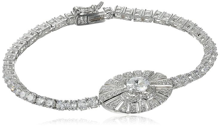 Rhodium Plated Sterling Silver Cubic Zirconia Oval Bracelet, 7.25' * Details can be found by clicking on the image. (This is an Amazon Affiliate link and I receive a commission for the sales)