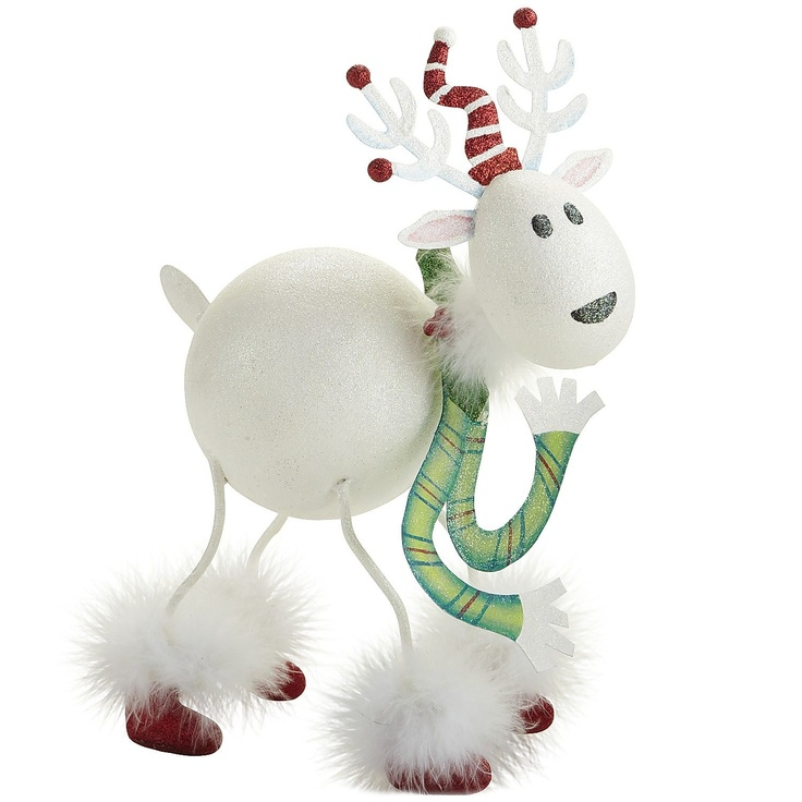 Pier 1 Glitter Reindeer will bring lots of personality into your home  Love the fluffy boots!