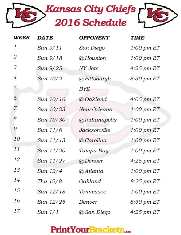 Printable Kansas City Chiefs Schedule - 2016 Football Season