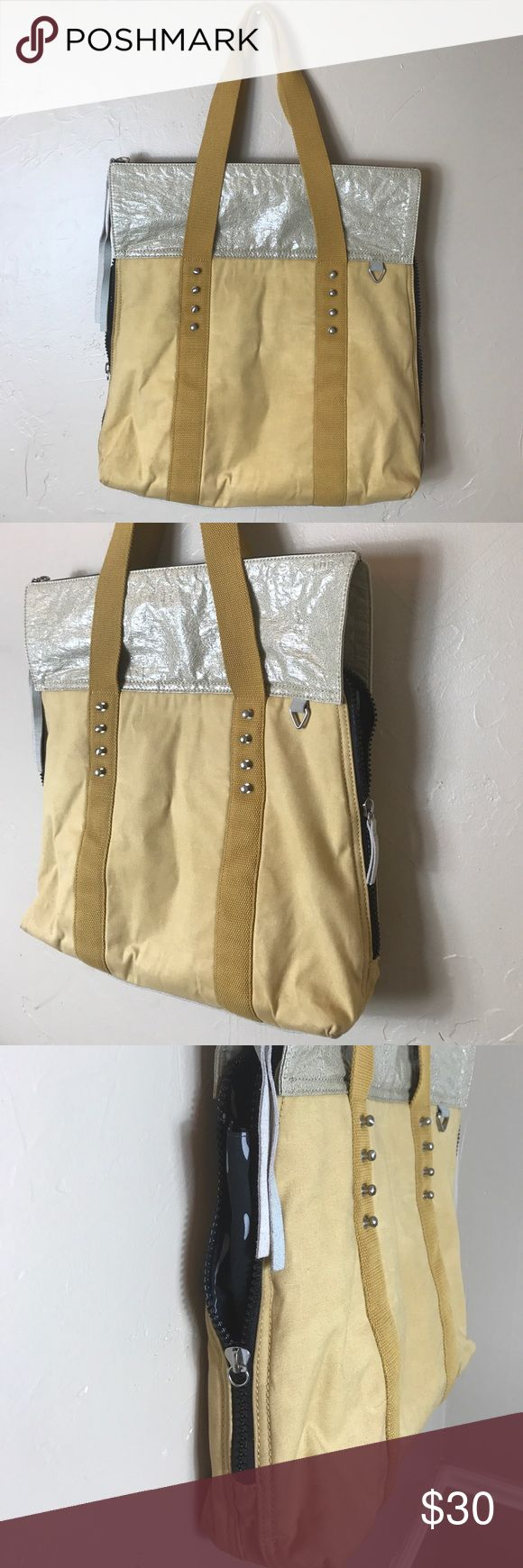 Yellow canvas Funky Laptop purse unisex cotton Preowned jus missing one tassel on the side zipper- see pics. Normal wear. Euc KDB  Bags Totes