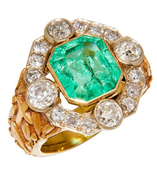 Magnificent Antique Bishops Ring Diamond & Emerald, Large and Impressive Bishops Ring, 18K yellow Gold set with old Mine Cut Diamonds totaling 4 carats. and centrally set with a step cut Emerald weighing 6 carats, comes in original box from Mancini & Lefevre, Rome. Italy 1910.