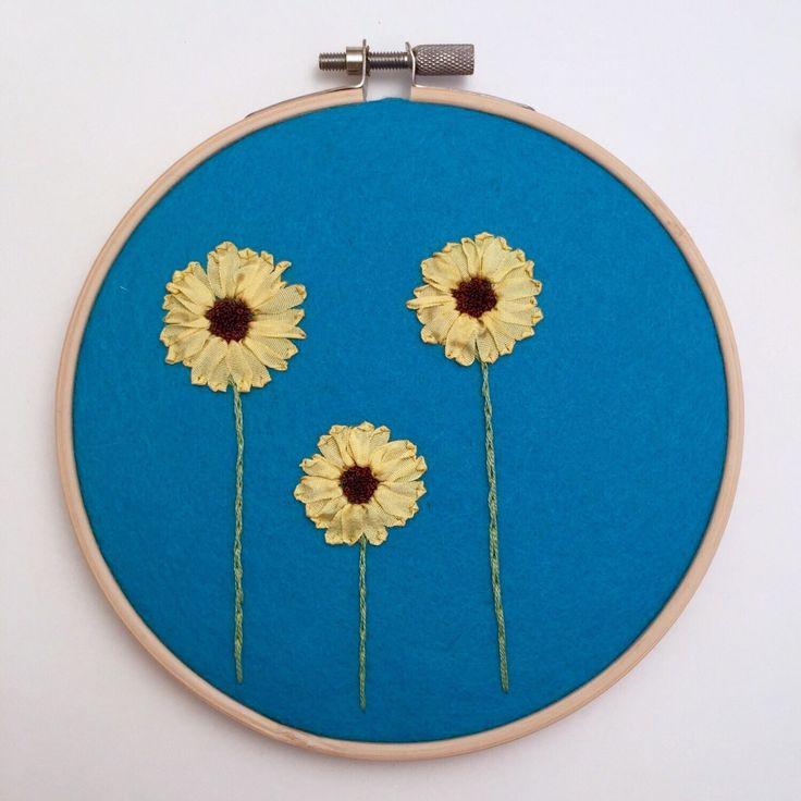 Sunflower Art, Hand Embroidery Hoop Art, Nursery Art, Sunflower Embroidery Hoop, Sunflower Gift, Flower Hoop Art, Flower Embroidery Hoop Art by SewnbytheBeach on Etsy https://www.etsy.com/listing/257665467/sunflower-art-hand-embroidery-hoop-art