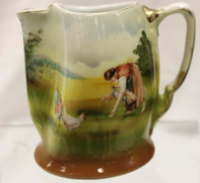Excited to share the latest addition to my #etsy shop: ANTIQUE Royal Bayreuth CREAMER Man Feeding Chickens SCENIC Landscape Miniature Pitcher Early Bavarian Porcelain http://etsy.me/2mUhwXS #housewares #serving #royalbayreuth #bayreuthporcelain #1900sporcelain #1900sba