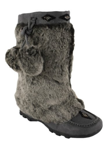 Sku! By Soda Moccasin Mukluk Flat Boots with Decorative Beading and Pom-Pom Dangles in Charcoal Grey Soda, $30.