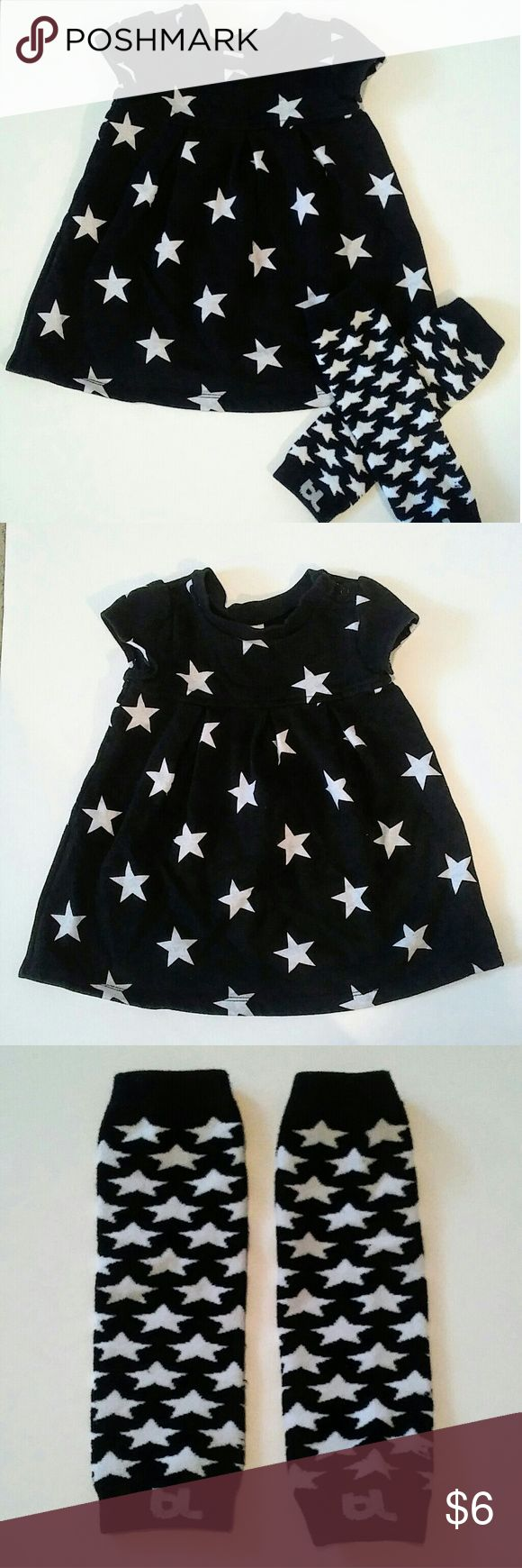"Old Navy dress with leg warmers Adorable black and white star dress in great used condition. No stains or holes. With free gift of ""Babylegs"" leg warmers. Black and white stars. Leg warmers are ""one size"" Old Navy Dresses"